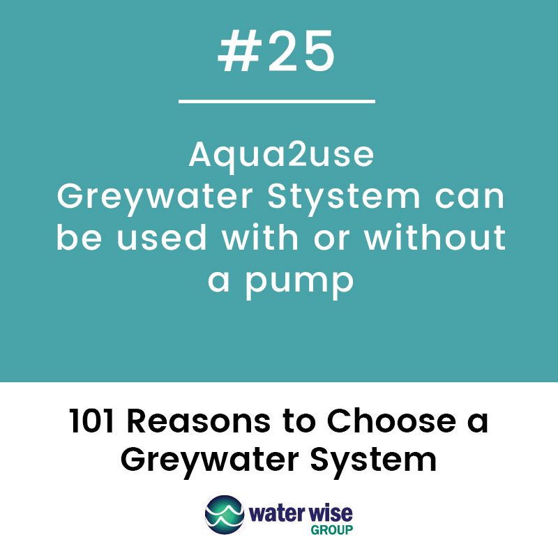 Aqua2use Greywater System can be used with or without a pump