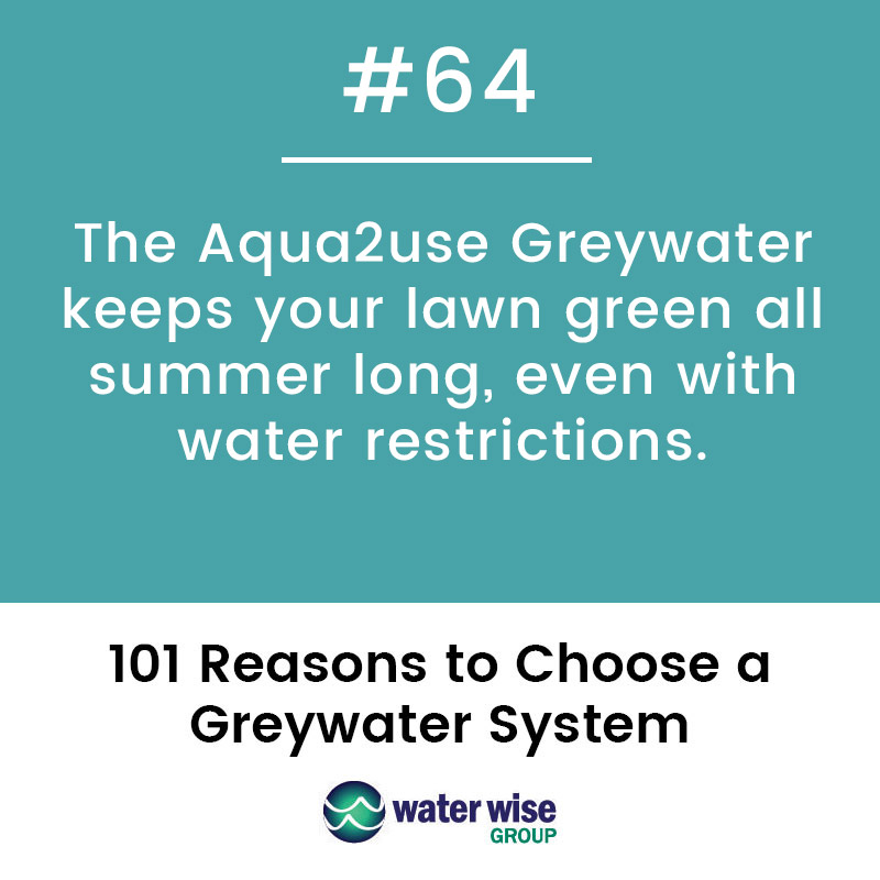 The Aqua2use Greywater keeps your lawn green all summer long, even with water restrictions.